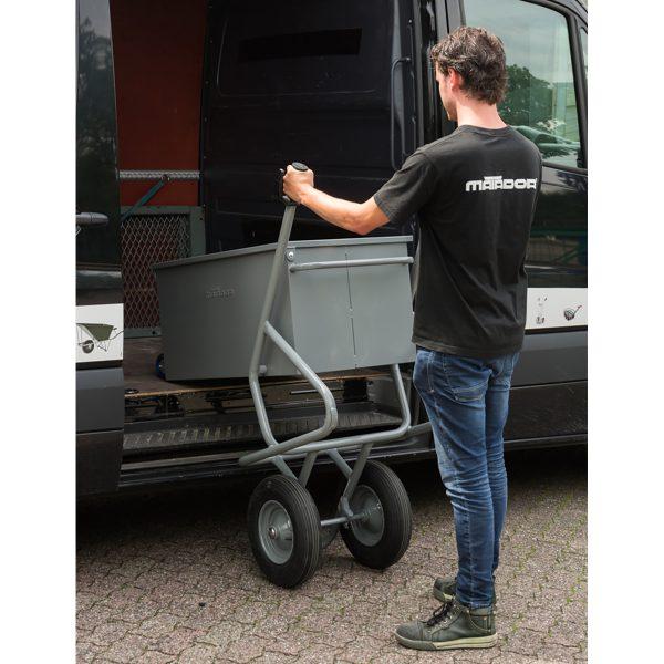 Brouette boite à outils basculante 2 roues pneumatiques