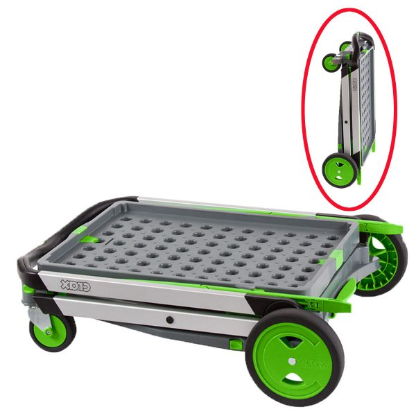 Chariot Clax vert avec une caisse