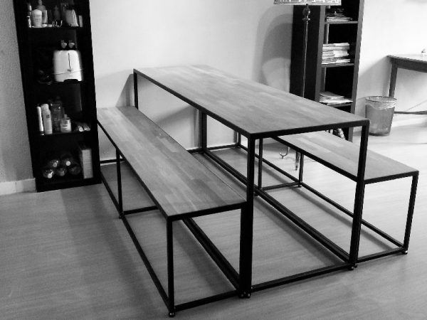 Furniture-Dutch-Design-table-and-bench-set-with-oak-tabletop
